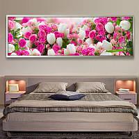 Алмазная вышивка 5D, Розы и тюльпаны, 70*28