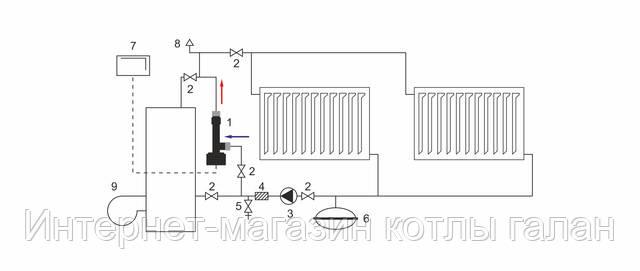 Схема параллельного подключения электрокотла «ГАЛАН»