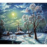 Алмазная вышивка 5D,Снежный пейзаж , 30*35,полная выкладка