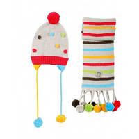 Детский Комплект: шапка, шарф для девочки 9 месяцев