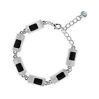Женский браслет на руку с чёрной эмалью Селина 403953