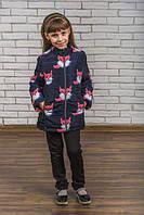 Удлиненная куртка на синтепоне для девочки принтованая