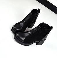 Женские черные ботинки на удобном каблучке натуральная кожа