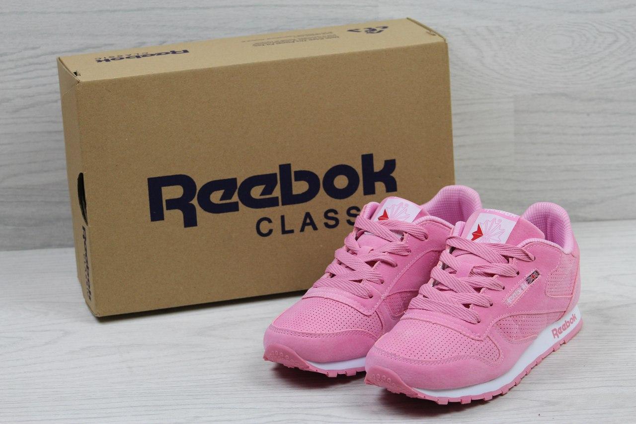Кроссовки женские Reebok Classic Leather since 1983 (розовые), ТОП-реплика