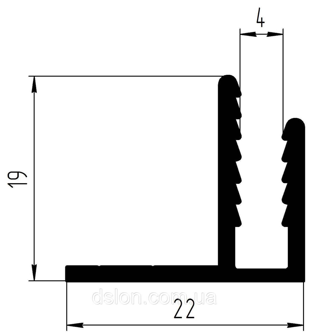 F-подібний привіконний профіль 4 мм. без покриття