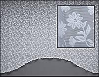 Короткая тюль до подоконника  арка с ромашками на 2 м карниз