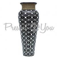 Ваза керамическая  классик  керамическая напольная черно-белая с веревкой, 100 см (52013e)