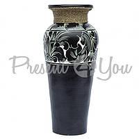 Ваза классик напольная керамическая черно-белая с веревкой, 80 см (52014e)