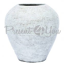 Ваза пузатая «Волна», белая, 40 см (52009.1e)
