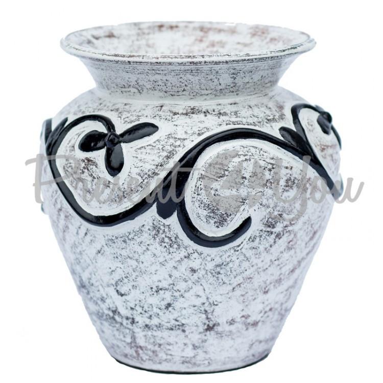 Ваза-Динос, чорно-белая, с леплиной,h-50 см (52005.1e)