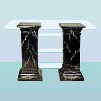 Журнальный стеклянный высокий стол, кофейный столик Полка монолит