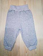 Детские штанишки серые утепленные с начесом от 0 до года