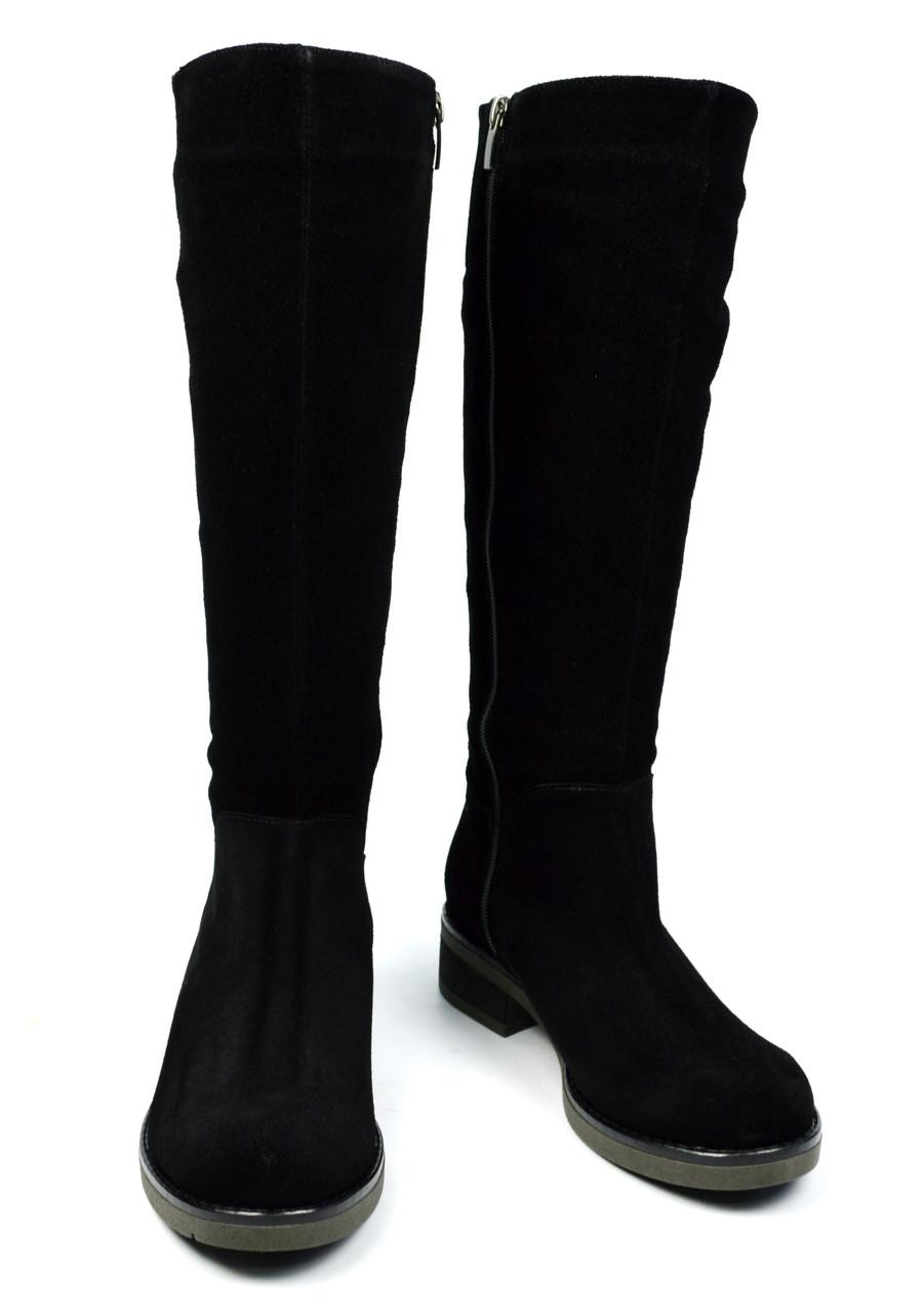 Черные зимние женские замшевые сапоги ARBI на меху ( овчина, европейка )