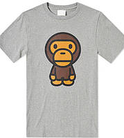 Футболка серая A Bathing Ape | Monkey logo