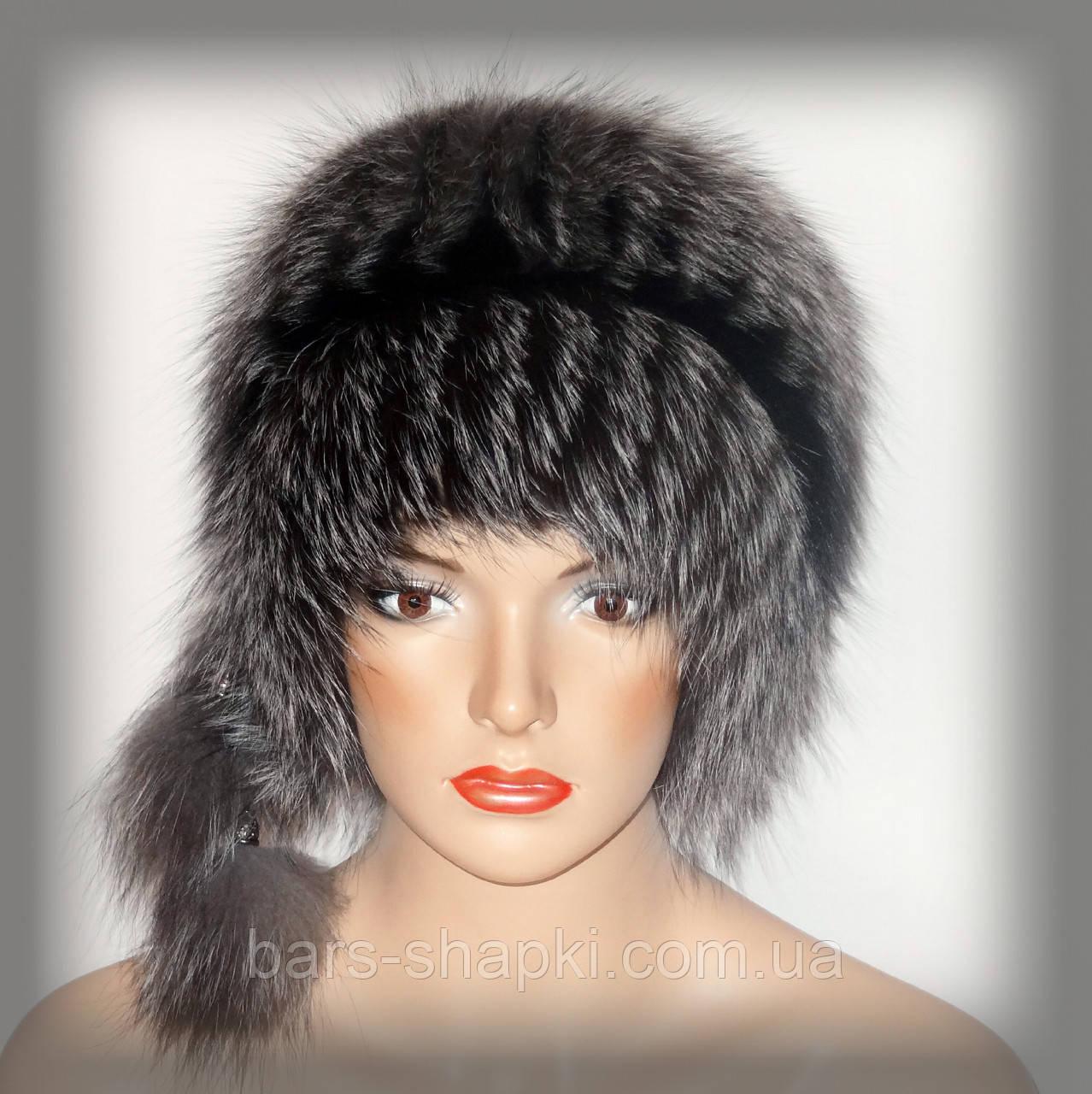 Женская  шапка из меха чернобурки,(Барбара)