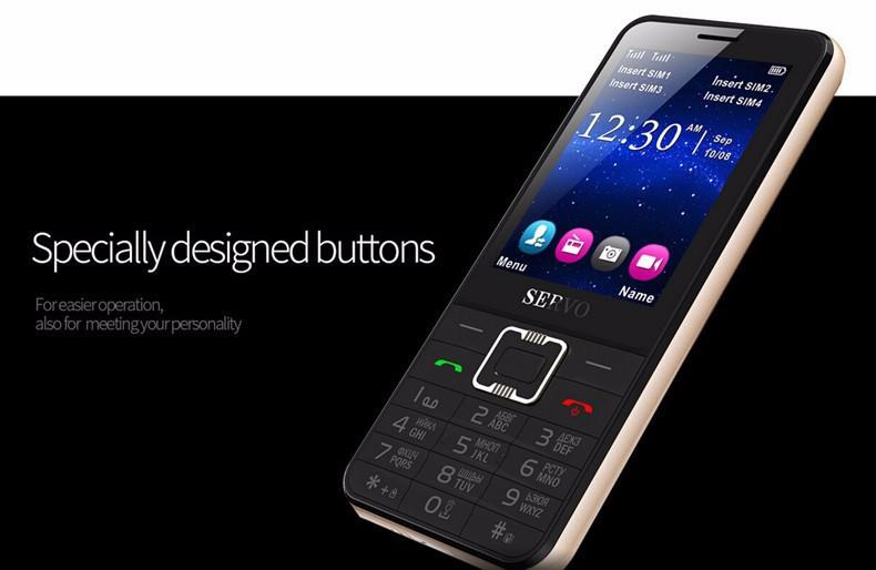 """Телефон на 4 sim Экран 2,8"""" дюйма SERVO V8100 под нокиа на 4 сим-карты"""