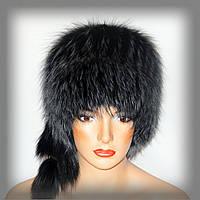 Меховая шапка из чернобурки,кубанка (крашенная)