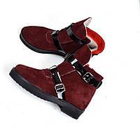 Женские зимние ботинки марсала натуральная замша в стиле H@RMES