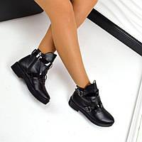 Женские зимние черные ботинки натуральная кожа в стиле H@RMES