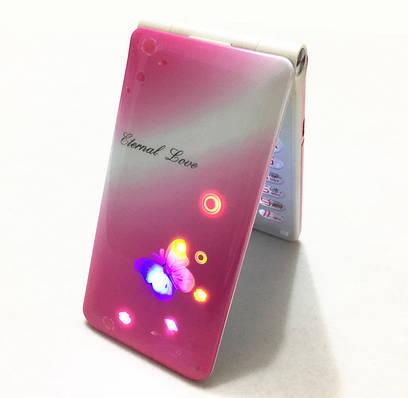 Телефон бабочка раскладушка для девочки на 2 Сим-карты XINPDA F118