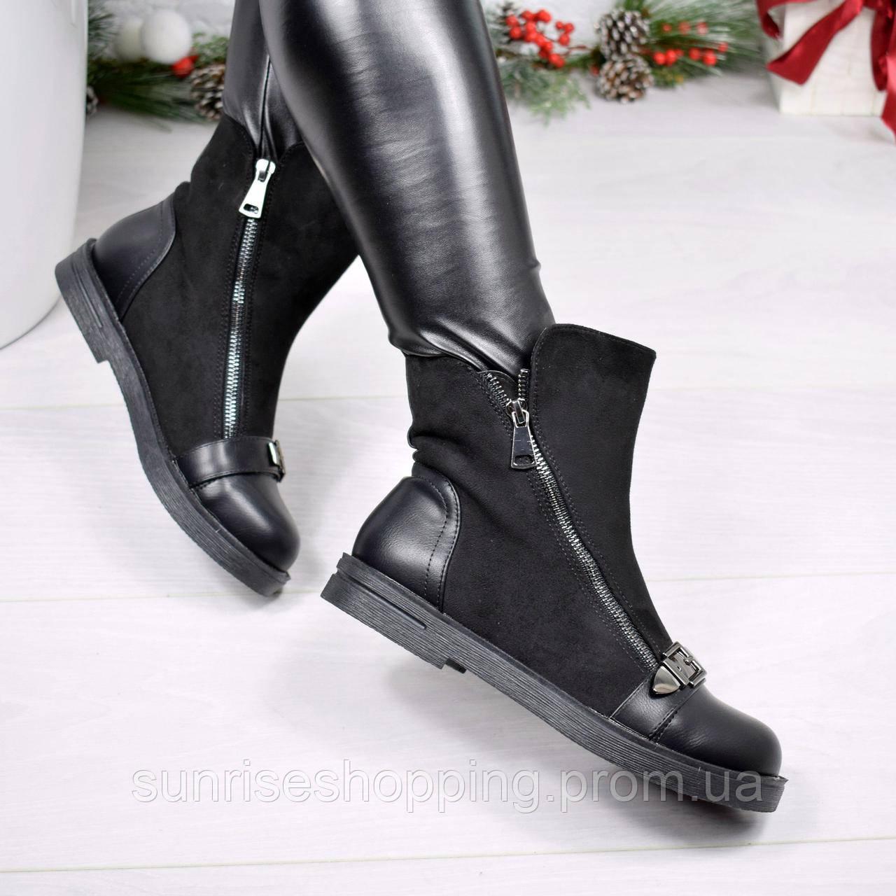 Стильные демисезонные ботинки Rock черного цвета с декоративным ремешком на  носочке 3df4bb46868