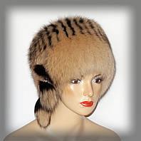 Песцовая шапка,женская (кубанка желтая)