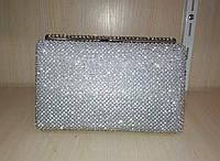 Женская прямоугольная сумочка-клатч в стразах (серебряная) №3550