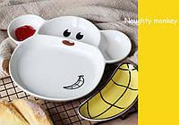 Набор для кормления Тарелка Обезьянка c разделителями для еды + блюдце в форме банана, фото 1