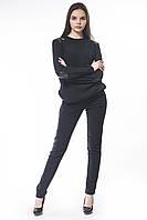 Кофта женская черная кукуруза с кожаными вставками