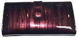 Женский кожаный лаковый кошелек Wildness темный бордо, фото 3