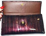 Женский кожаный лаковый кошелек Wildness темный бордо, фото 4