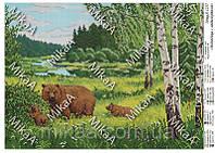 """Схема для полной вышивки бисером """"Медведица с медвежатами"""""""