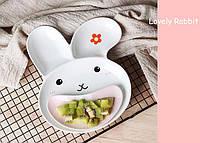 Набор для кормления Тарелка Зайка c разделителями для еды + блюдце в форме улыбки