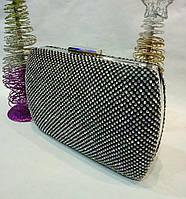 Женская сумочка-клатч в стразах с закругленными боками (черная) №3551