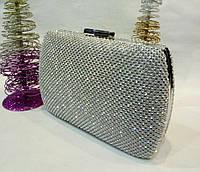 Женская сумочка-клатч в стразах с закругленными боками (серебряная) №3551