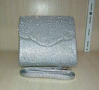 Женская вечерняя сумочка-конверт (серебряная) №3552