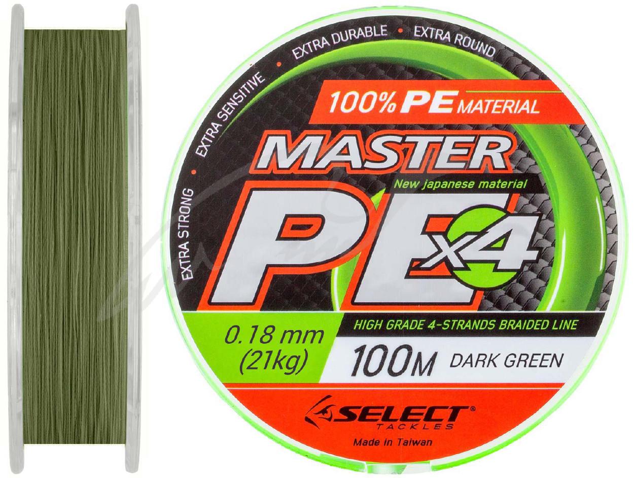 Шнур Select Master PE 100m 0.18мм 21кг темн.-зел. (1870.01.46)