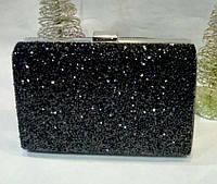 Женская вечерняя сумочка, усыпанная стразами (черная) №3554
