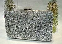 Женская вечерняя сумочка, усыпанная стразами (белая) №3554