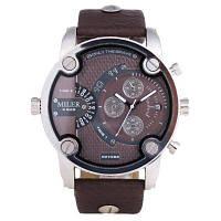 MILER 8259 Модные мужские кварцевые часы с декоративными циферблатами Коричневый