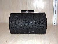 Женская вечерняя сумочка-минодьер со стразами (черная) №3556