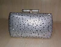 Женская вечерняя сумочка-минодьер со стразами (серебряная) №3556