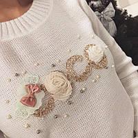 Модный женский свитер Коко белый
