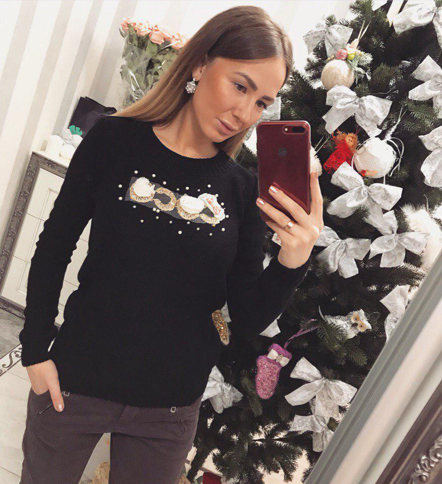 Модный женский свитер Коко чёрный