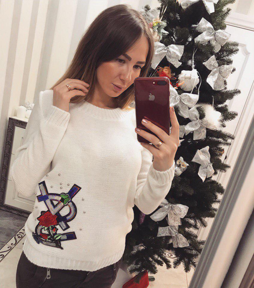 Модный женский свитер YSL белый