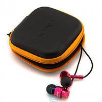 Наушники с микрофоном SONY 131 + квадратный чехол black-red