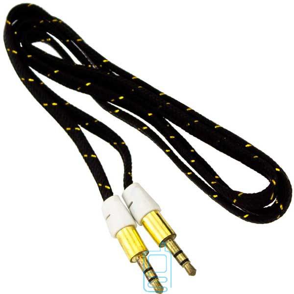 AUX кабель 3.5 M/M 1 метр в тканевый черный
