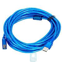 Удлинитель USB с ферритовым фильтром 5m синий