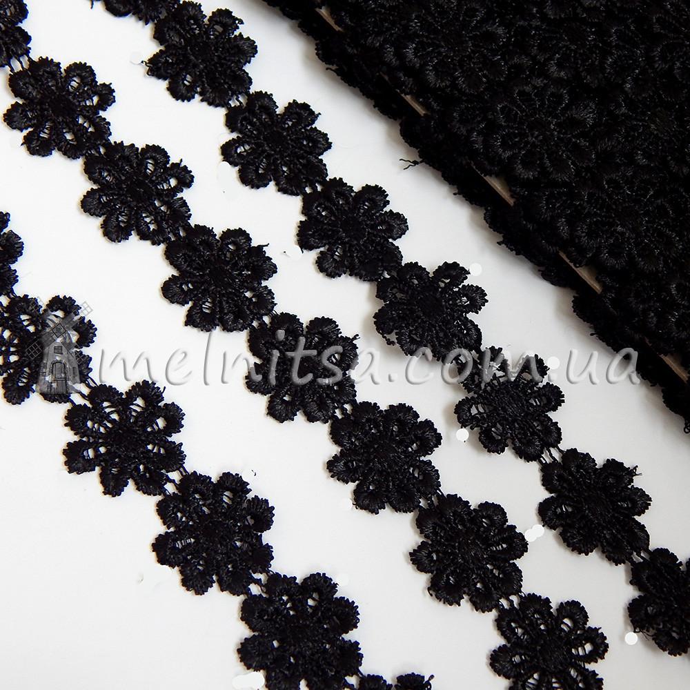 Кружево Ромашка, 2,5 см, черный
