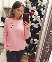 Модный женский свитер  Девочка розовый